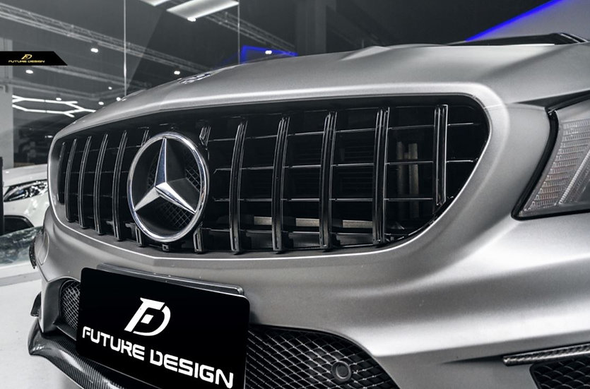 w117 c117 cla250 cla45 cla class with panamericana gt amg style grill carbon fiber front lip canards eye lids body kit