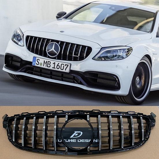 best quality and fitment 2019 panamericana style front grill for 2015 2016 2017 2018 mercedes w205 C63 C63s sedan coupe wagon