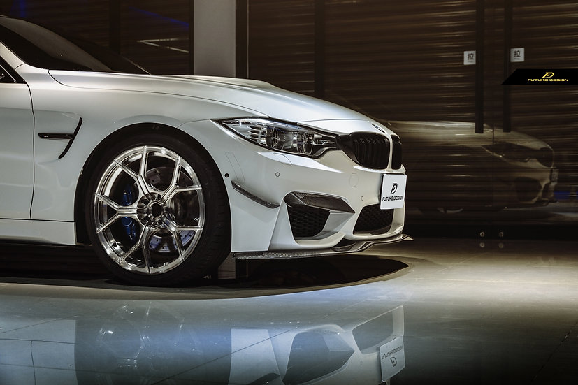 alpine white bmw f82 m4 with carbon fiber canards vorsteiner front lip similar to psm and 305 forged wheels
