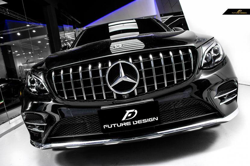 x253 c253 with AMG GT Style Front Grill - Chrome Vertical Grates