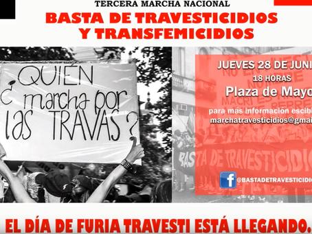 3RA MARCHA NACIONAL BASTA DE TRAVESTICIDIOS Y TRANSFEMICIDIOS ARGENTINA 2018