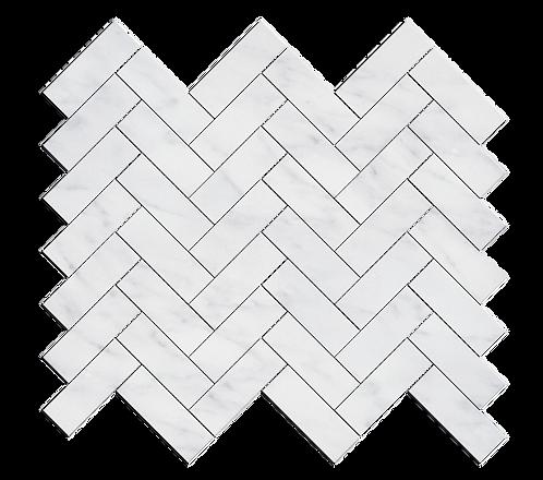 """Carrara 1""""x3"""" Herringbone Polished Marble Mosaic"""