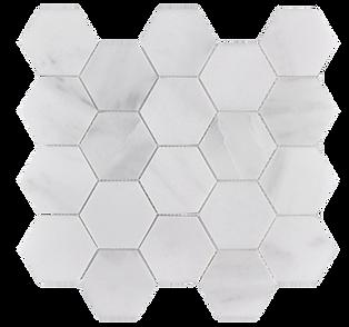 "Venetian White 3"" Hexagon Polished Marble Mosaic"