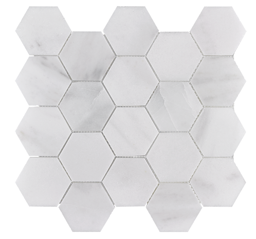 "Venetian White 3"" Hexagon Polished Marble Mosaic"