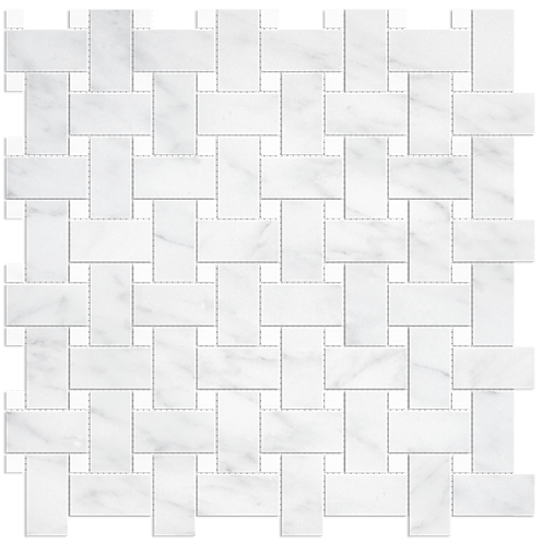 "Carrara 1""x2"" Basketweave w/ White Dots Polished Marble Mosaic"