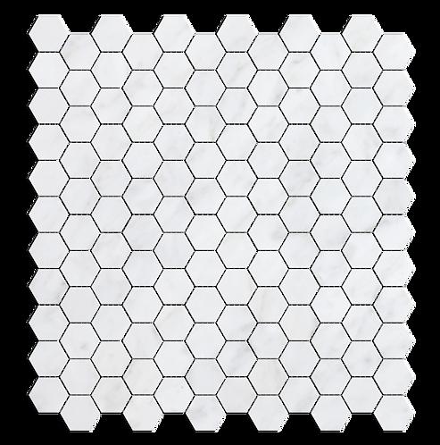 "Carrara 1"" Hexgaon Polished Marble Mosaic"