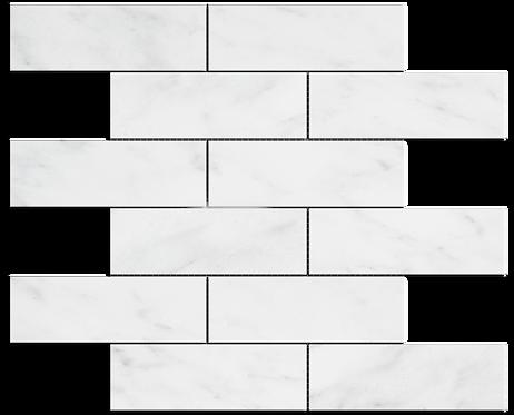 "Carrara 2""x6"" Brick Polished Marble Mosaic"