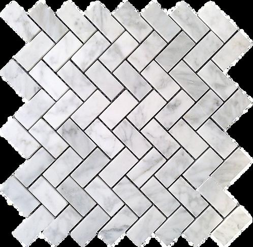 """Carrara 1""""x2"""" Herringbone Polished Marble Mosaic"""