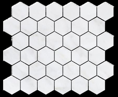 "Carrara 2"" Hexagon Polished Marble Mosaic"