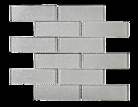 "Uno 2""x6"" White Glass Mosaic"