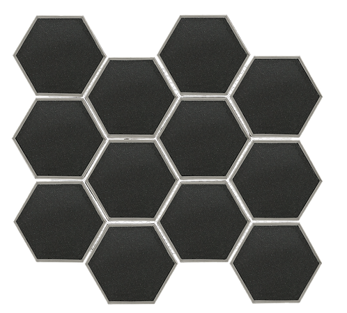 "Swiss 3"" Hexagon Dark Grey Glass"