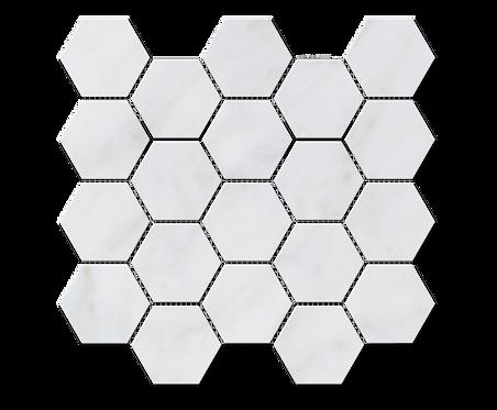 "Carrara 3"" Hexagon Polished Marble Mosaic"
