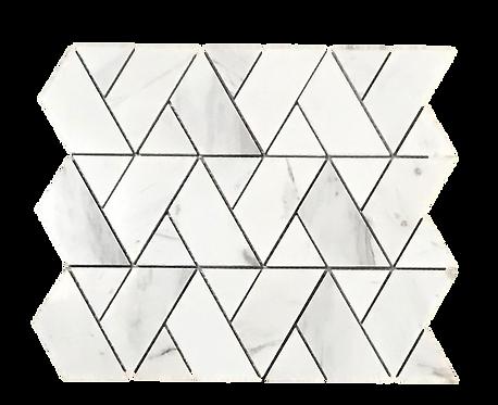 Herringweave Volakas White Polished Marble Mosaic