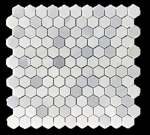 """Twilight 1"""" Hexagon Polished Marble Mosaic"""