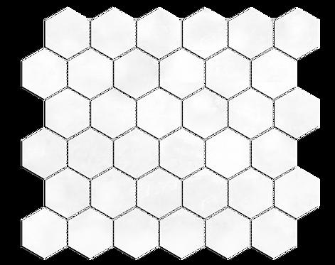 "Ice White 2"" Hexagon Polished Marble Mosaic"