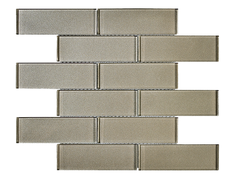 """Uno 2""""x6"""" Taupe Glass Mosaic"""