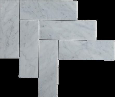 """Carrara 3""""x9"""" Herringbone Polished Marble Mosaic"""