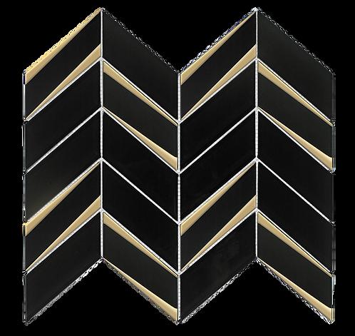 Envision Chevron Black Gold Glass Mosaic