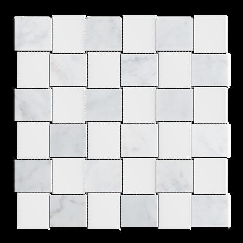 "Carrara+White 2""x2"" Basketweave Honed Marble Mosaic"