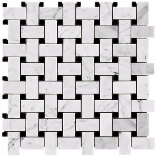 "Carrara 1""x2"" Basketweave w/ Black Dot Polished Marble Mosaic"