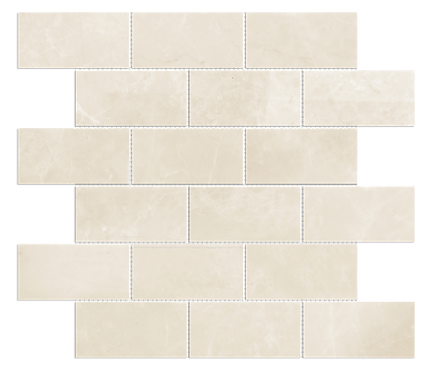 "Crema Pearl 2""x4"" Brick Polished Marble Mosaic"