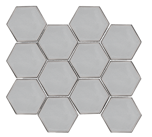 "Swiss 3"" Hexagon Platinum Glass"