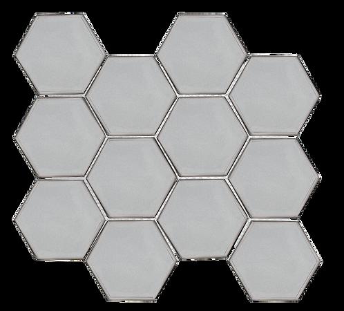 "Swiss 3"" Hexagon Platinum Glass"