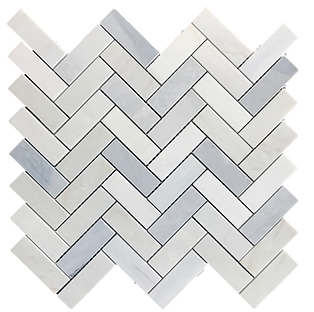 "Twilight 1""x3"" Herringbone Polished Marble Mosaic"