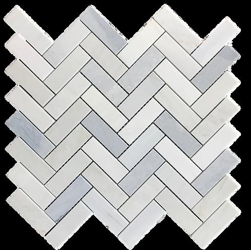 "Twilight 1""x3"" Herringbone Polished Marble Mosaic"