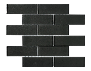 "Uno 2""x6"" Dark Grey Glass Mosaic"