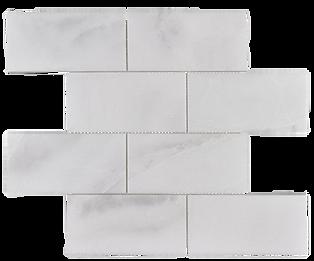"Venetian White 3""x6"" Brick Polished Marble Mosaic"