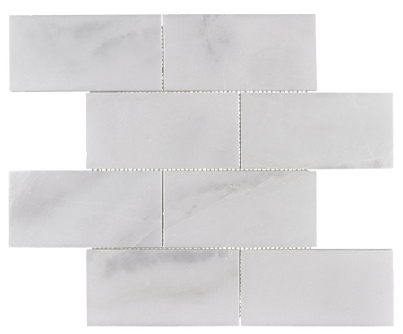 "Venetian White 3""x6"" Brick Polished Marble Mosaic"