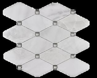 Venetian White Octagon w/ Silver Dot Polished Marble Mosaic