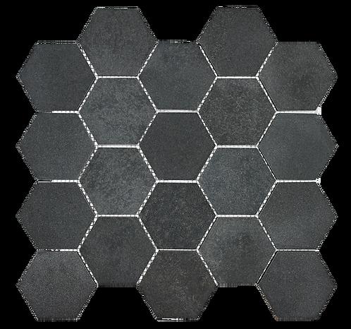 "Basalt 3"" Hexagon Honed Marble Mosaic"