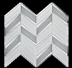 Envision Chevron White Silver Glass Mosaic