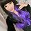 Thumbnail: Peruca Cinza Escuro com Roxo 65cm