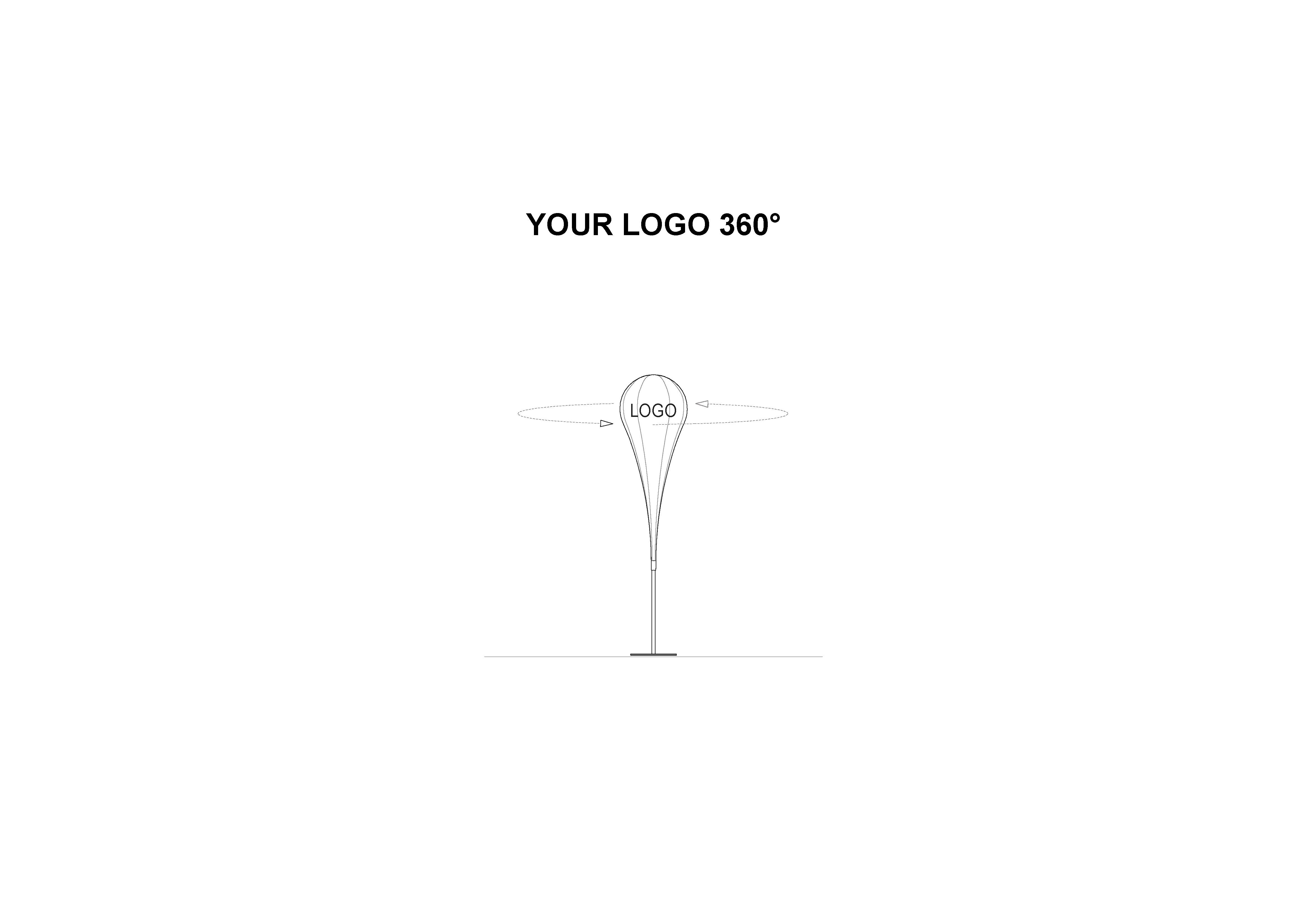 360° Werbung auf einer Beachflag