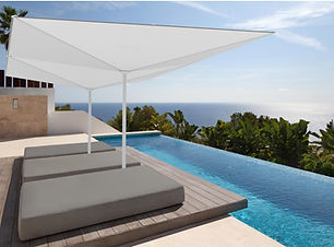 Design Sonnenschirme auf privater Terrasse