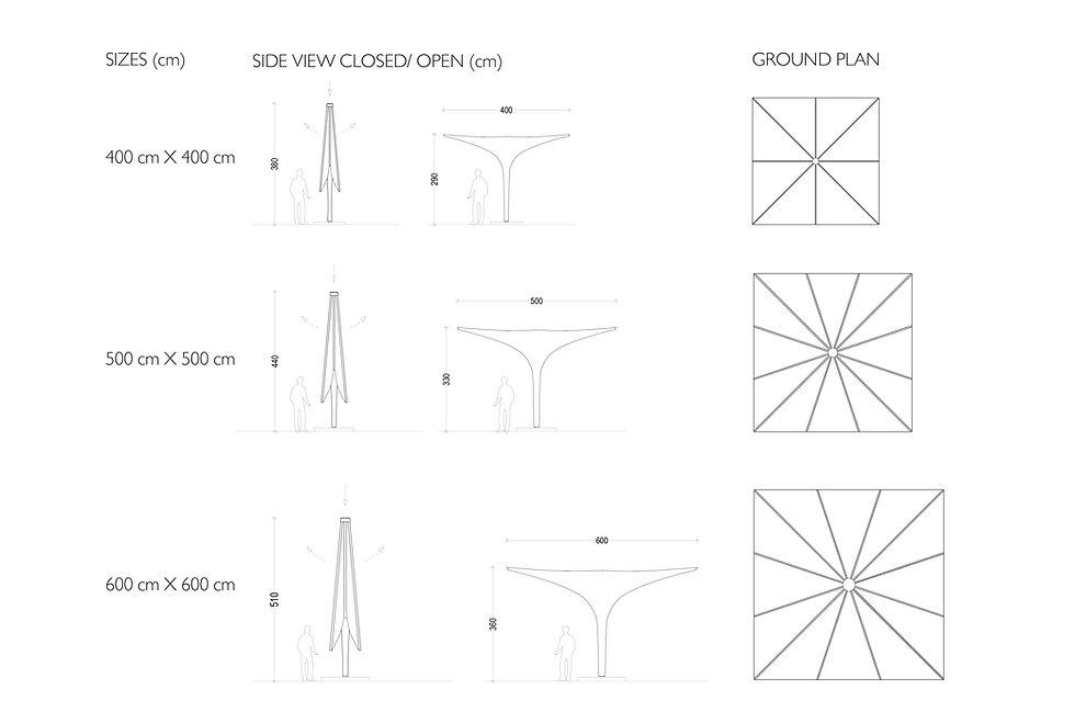 Tabelle Schirme Größen