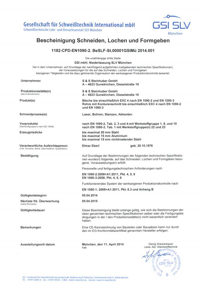 Ausrichtung unseres Managementsystems nach EN ISO 9001:2008 und der WPK nach EN1090