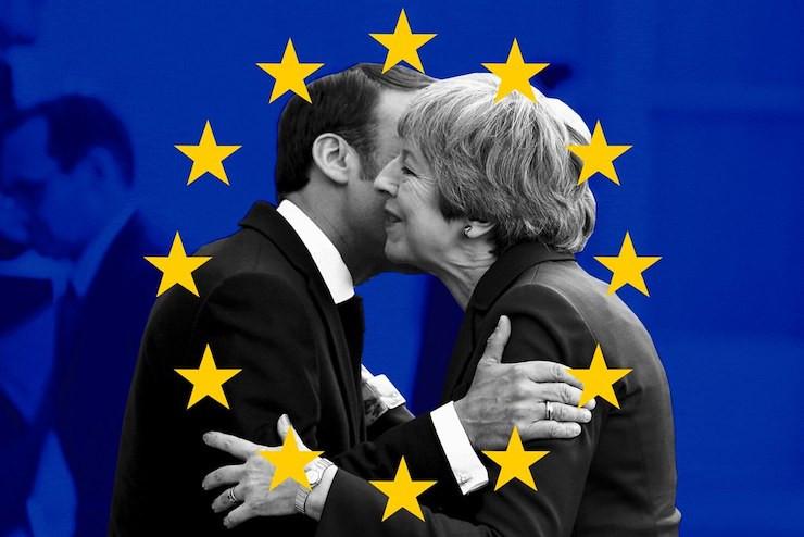 Theres May greeting Emmanuel Macron
