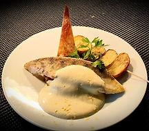Filet de Sandre ratatouille pommes grenailles by Café Lascauxs