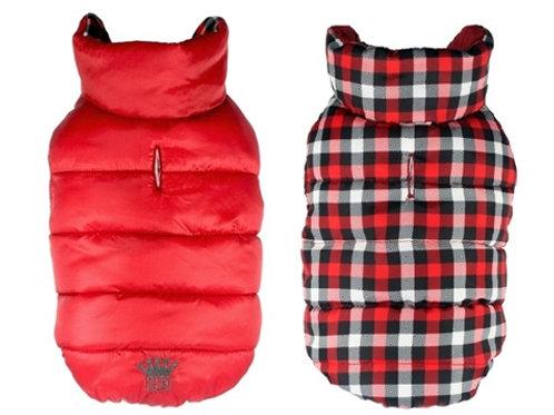 Reversible Red Gingham Puffer Vest / Coat