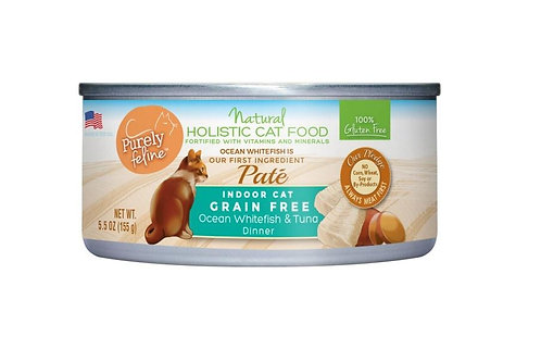 Purely Feline Indoor Cat Grain Free Ocean Whitefish & Tuna Pate 5.5oz