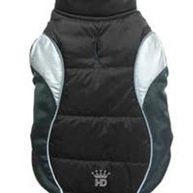 Wave Reflective Puffer Coat - Black