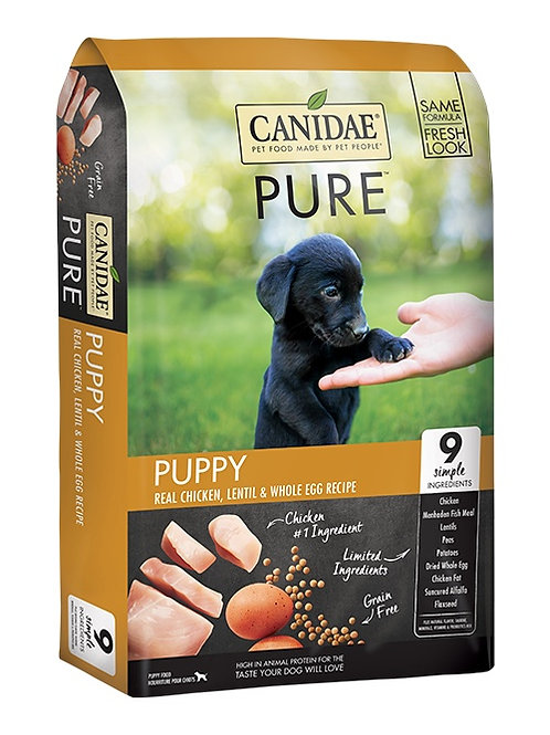 CANIDAE® Grain Free PURE™ Real Chicken, Lentil & Whole Egg Puppy Recipe 24#