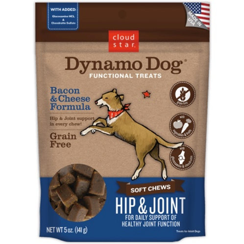 Cloud Star Dynamo Dog Hip & Joint Soft Chews Bacon & Cheese Formula Dog Treats