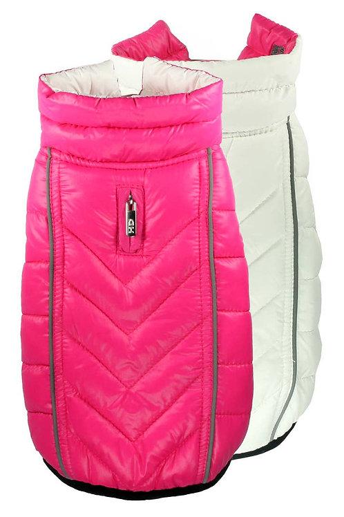 Reversible Puffer Coat - Pink/White