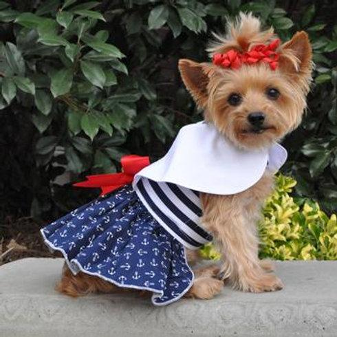 Nautical Dog Dress with Matching Leash