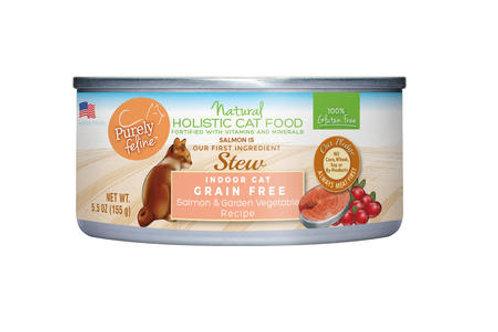 Purely Feline™ Indoor Cat Grain Free Salmon & Garden Vegetables Stew 5.5oz
